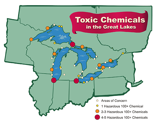 Toxic Chemicals in the Great Lakes map